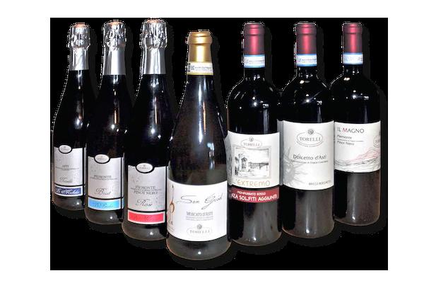 Bottiglie di vino della cantina Torelli a Bubbio