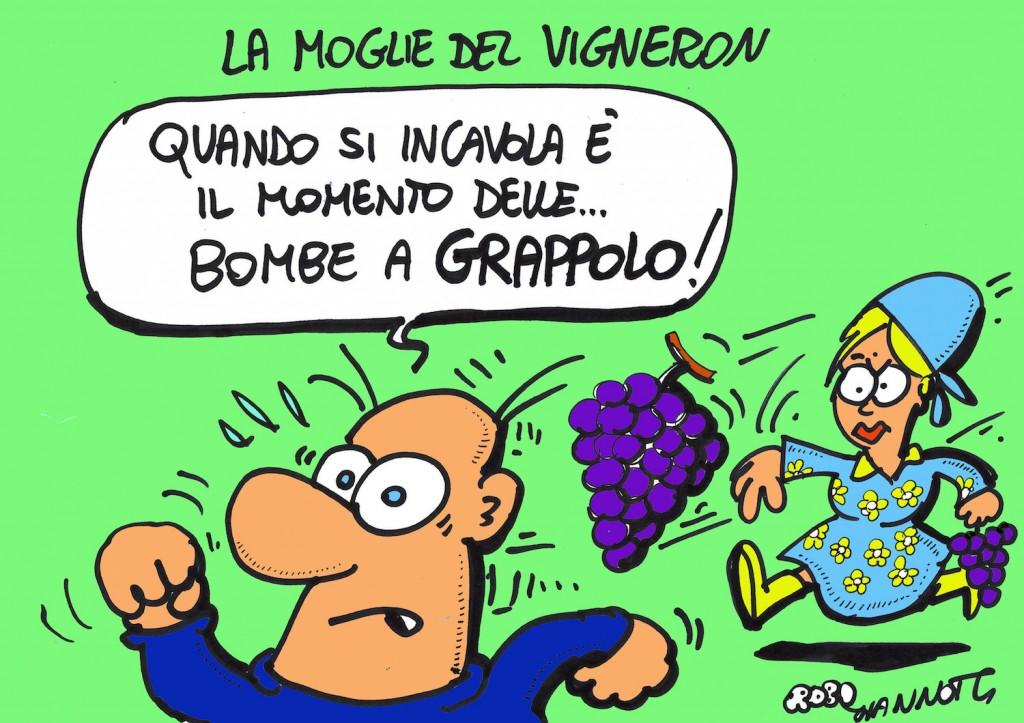 Vignetta di Roby Giannotti sulla moglie del Vigneron